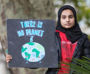 A protester at a Fridays for Future climate change protest in London last September.