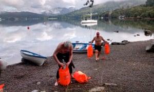 Making waves: preparing to take the plunge at Lake Windermere.