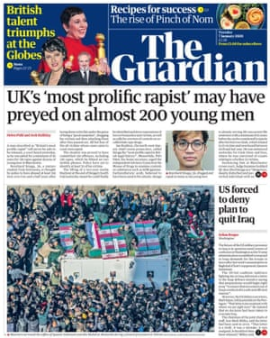 Guardian front page, Tuesday 7 January 2020