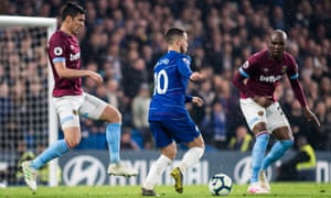 West Ham's Fabián Balbuena (left) and Angelo Ogbonna attempt to deal with the threat posed by Chelsea's Eden Hazard during last season's clash at Stamford Bridge.