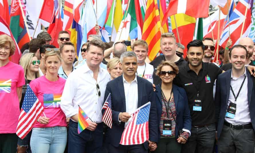 US ambassador, Matthew Barzun, joined London Mayor, Sadiq Khan, on the Pride in London parade.