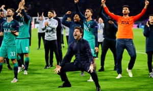 Mauricio Pochettino celebrates with Tottenham players after beating Ajax 3-2.
