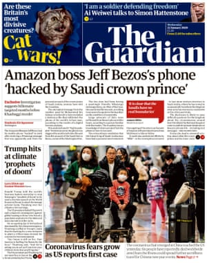 Guardian front page, Wednesday 22 January 2020