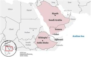 Map of Ethiopia, Djibouti, Yemen and Saudi Arabia