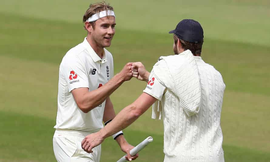 Stuart Broad celebrates after winning the third Test against West Indies last July – the day he reached 500 Test wickets.