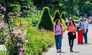Visitors at Kew Gardens, London, in June