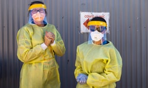 Healthcare workers at a Covid testing clinic in Nyngan, NSW.