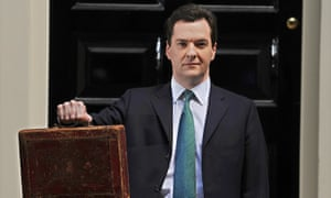 British Chancellor George Osborne holds Gladstone's red box outside 11 Downing Street