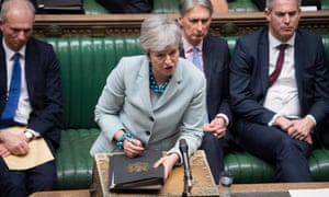 Prime Minister Theresa May in the House of Commons on 25 March.