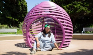 Michelle Ducoing, 24, inside the playground structure where she slept on her first night of homelessness in Santa Monica, California.