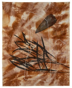 Judy Watson standing stones, gumbi gumbi, stone tool 2020 earth, graphite, pastel, acrylic, cotton on canvas 229.5 x 181 cm Courtesy of the artist and Milani Gallery, Brisbane Photo: Carl Warner