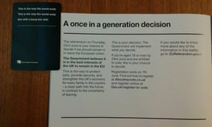 A card from Cards Against Humanity and the pro-EU pamphlet. The two spell out: This is the way the world ends, not with a bang but with A once in a generational decision