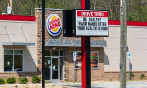 A Burger King in Marion, Virginia displays a hopeful message during the Covid-19 pandemic on 3 May.