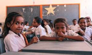 Students at Mauraba school, in Timor-Leste, where a satellite dish has connected the school with Australia's Northern Territory.