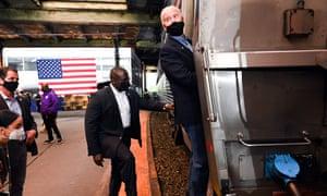 Joe Biden boards his campaign train in Pittsburgh
