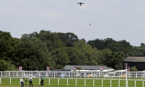 A drone is tested before a day's racing at Royal Ascot.