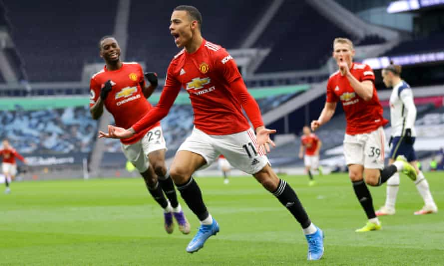 Mason Greenwood celebrates after scoring Manchester United's third goal at Tottenham, a goal that sealed a 3-1 victory after his side were trailing 1-0 at half-time.