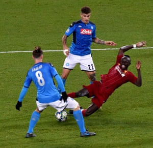 Sadio Mane of Liverpool goes down in the box but the ref is having none of it.