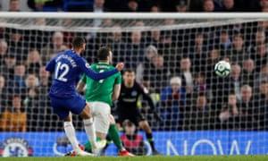 Chelsea's Ruben Loftus-Cheek scores their third goal.