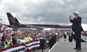 Republican presidential candidate Donald Trump arrives for a rally in Lakeland, Florida Wednesday.