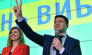 Volodymyr Zelensky at his campaign headquarters after topping the first round of the Ukrainian presidential elections.
