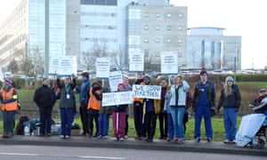 Junior doctors protesting outside Great Western Hospital, Swindon