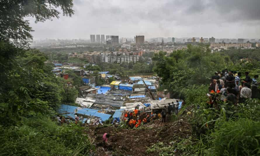 A wall collapsed on some shanties in Chembur's Bharat Nagar area due to a landslide after heavy rainfall in the city