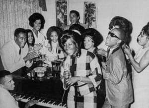 Berry Jr. Gordy;Stevie Wonder;Smokey RobinsonMotown founder and pres. Berry Gordy playing the piano as group incl. Smokey Robinson (rear) and Stevie Wonder (2R) join in singing together at Motown Studios. (Photo by Steve Kagan//Time Life Pictures/Getty Images)