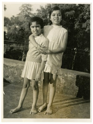 Sheela Banerjee, left, aged six, with her cousin in Chandannagar, India.