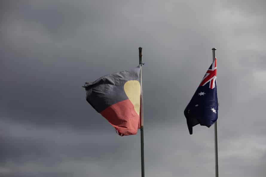 The Aboriginal and Australian flags flying in Bargo