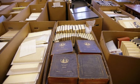 Original source materials from the era of whaling sit in cases at the newly constructed archives at the New Bedford Whaling Museum in New Bedford, Mass.