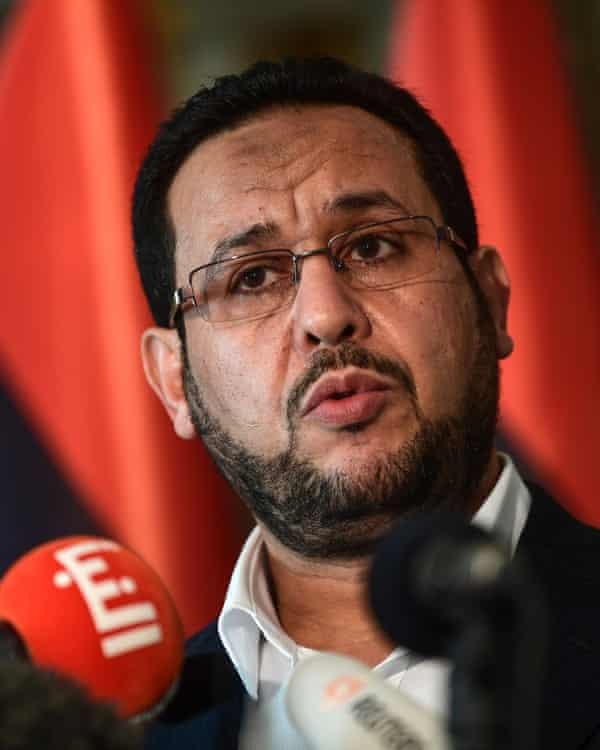 Abdel Hakim Belhaj at a press conference this month.
