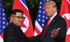 Trump meets Kim Jong-un in Singapore.