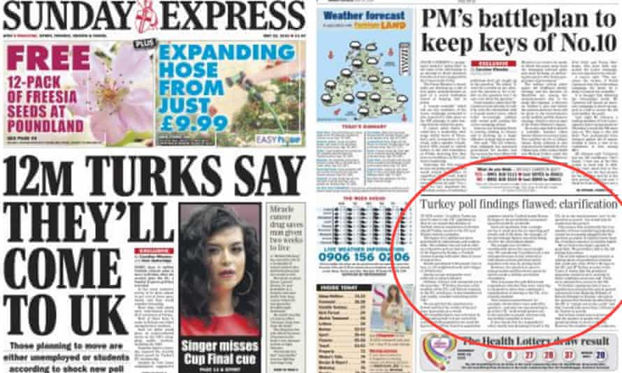 Sunday Express page 1 on 22 May, left, and yesterday's page 2 'clarification'.