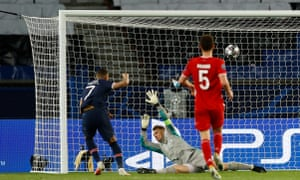 Paris St Germain's Kylian Mbappe sticks the ball in the net but VAR rules it out.