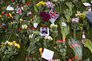 Windsor, UK: floral tributes to Prince Philip are seen at Windsor Castle