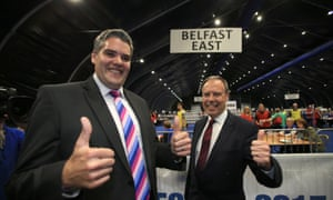 The DUP candidates Gavin Robinson (East Belfast) and Nigel Dodds (North Belfast) give the thumbs up at the count centre at the Titanic Exhibition.