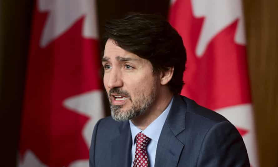 Justin Trudeau holds a press conference in Ottawa on Friday, 19 March 2021.