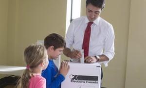 Justin Trudeau's children watch him vote in Montreal last October