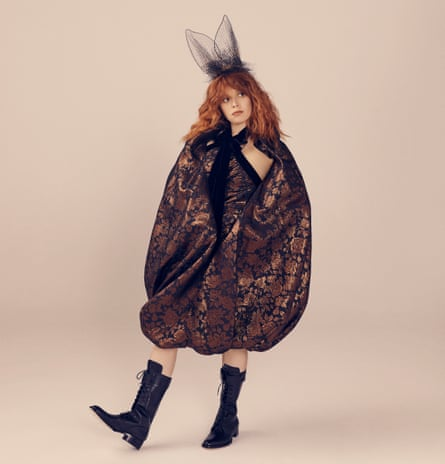 'I've become someone who thinks in clues, who jokes in puzzles': Natasha Lyonne wears dress by Erdem, boots by Tamara Mellon and headpiece by Rinaldy A Yunardi.