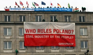 Greenpeace protesters on the roof of the economy ministry in Warsaw, Poland.