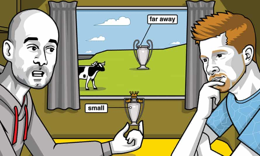Illustration of Pep Guardiola and Kevin De Bruyne with small and large Champions League trophies