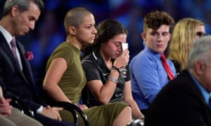Emma González, a Marjory Stoneman Douglas student, comforts a classmate during the CNN town hall meeting on Wednesday night.