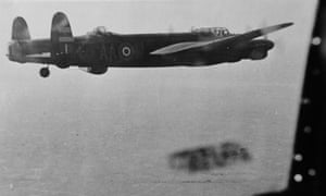 The Mallon Lancaster in 1945, with Bob visible in the cockpit