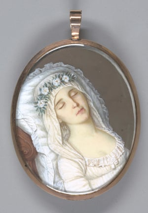 Harriet Mackie (The Dead Bride) - PR Vallée.   This gothic portrait of a bride who died at the age of 17, just days before her wedding, remains a curio given that her death was cloaked in mystery. The locket also contains a lock of her hair and might have been commissioned by her heartbroken groom.