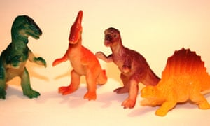 'Dino World' Toy Dinosaurs in the usual array of plastic dinosaur colours and with the ubiquitous Dimetrodon imposter