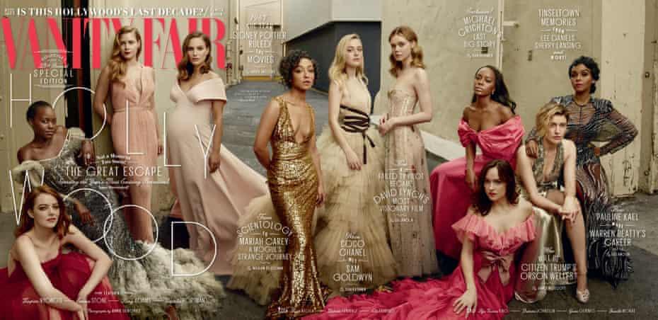 Vanity Fair's Hollywood issue 2017. From left to right: Emma Stone, Lupita Nyong'o, Amy Adams, Natalie Portman, Ruth Negga, Dakota Fanning, Elle Fanning, Aja Naomi King, Dakota Johnson, Greta Gerwig and Janelle Monae.