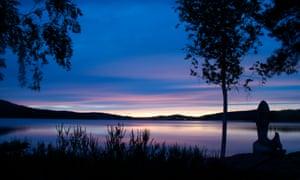 Sunset in summer at Lake Edslan, near the Edsleskogs Wärdshus hotel.
