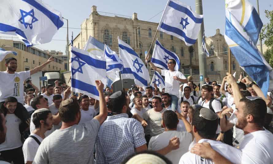 Israelis wave national flags