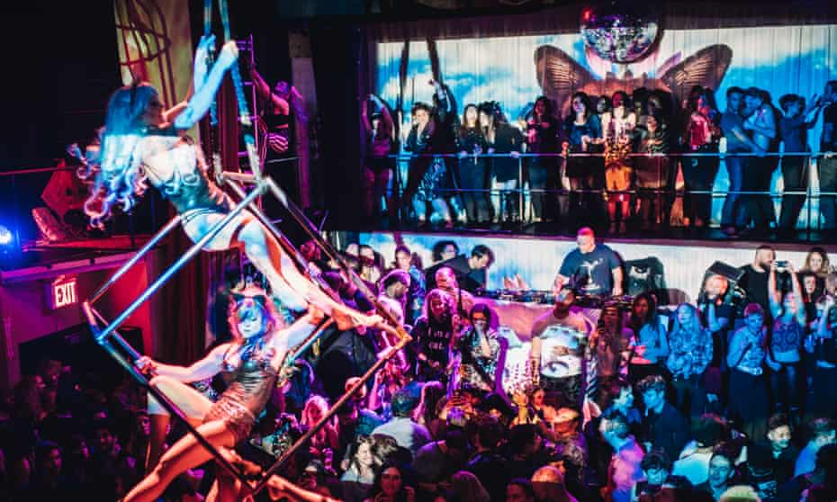 Aerial performers at House of Yes, New York.